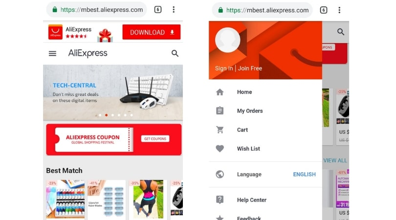 Exemplos de Progressive Web Applications - Aliexpress