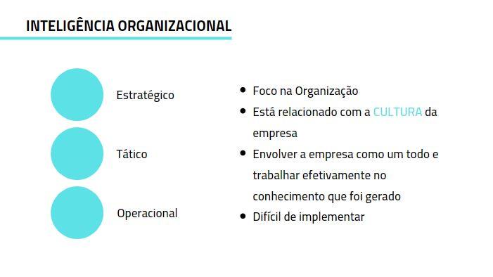 As Diferenças entre as Inteligências Inteligência Organizacional