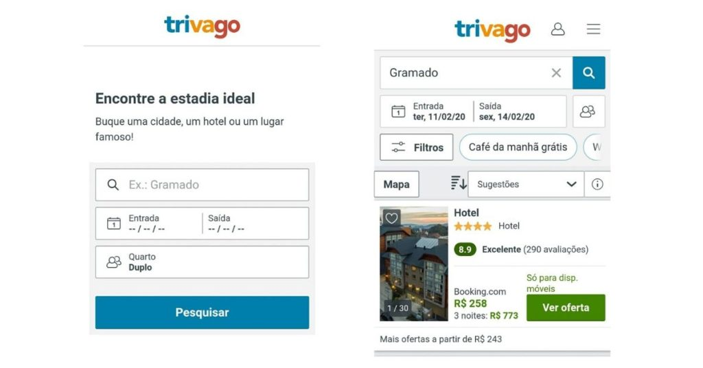 Exemplos de Progressive Web Applications Trivago